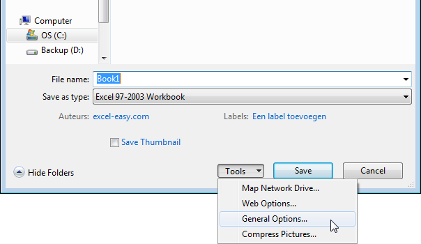 How to Password Protect Workbook in Excel, 2003 to 2007