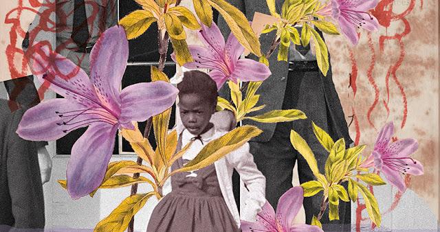 Colagem digital que registra o momento em que Ruby bridges sai escoltada da escola. Colagem de @mariarosa.art