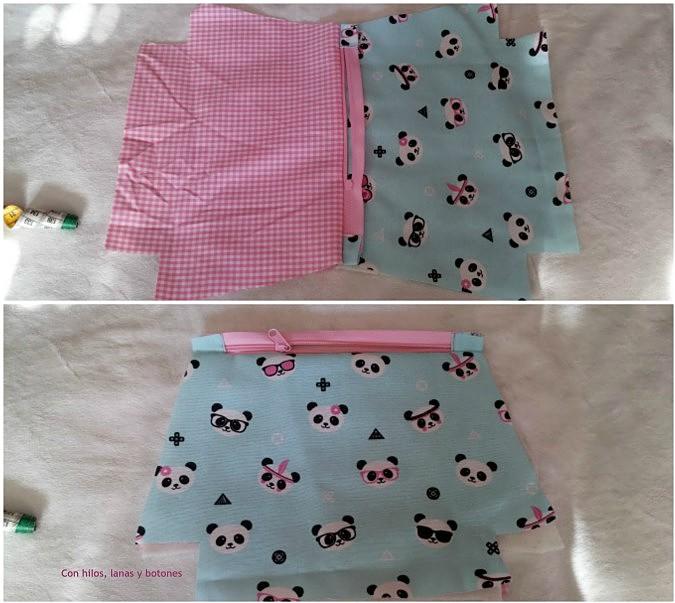 Con hilos, lanas y botones: Neceser triangular de pandas paso a paso (patrón gratis)