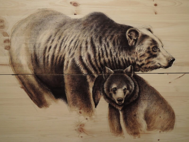 09-Mother-and-baby-Bear-Martina-Billi-Animal-Drawings-on-Recycled-Wooden-Planks-www-designstack-co