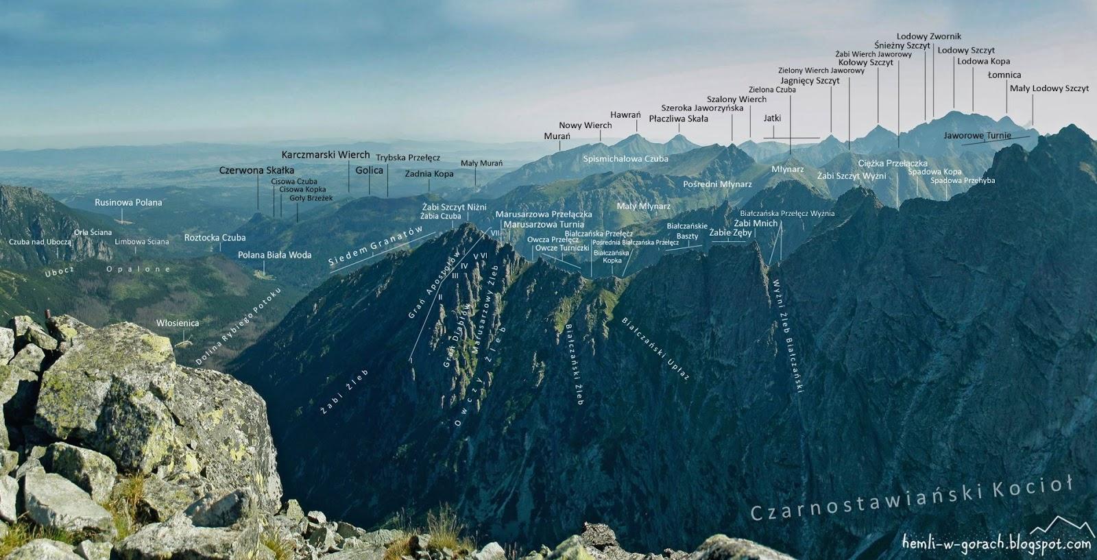 Panorama z Mięguszowieckiego Szczytu Czarnego