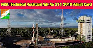 VSSC Technical Assistant Adv No 311 2019 Admit Card