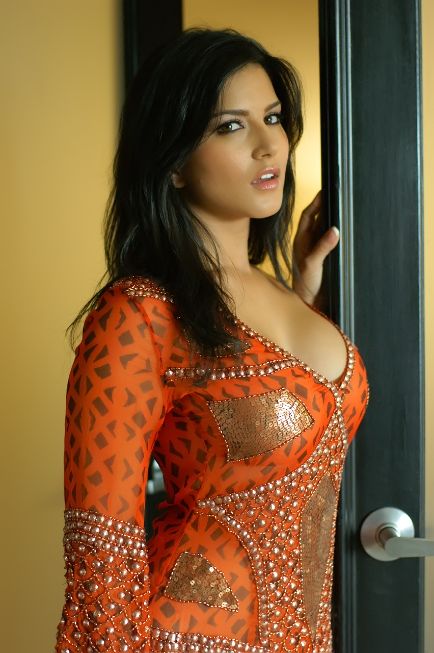 Sunny Leone Spicy Outfit Orange Beautiful Indian Actress -6077