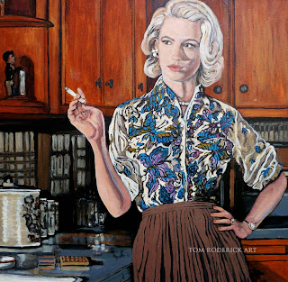 Betty Draper smoking by Boulder portrait artist Tom Roderick
