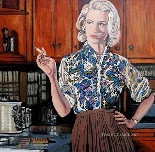 Betty Draper smoking by Boulder portrait artist Tom Roderick