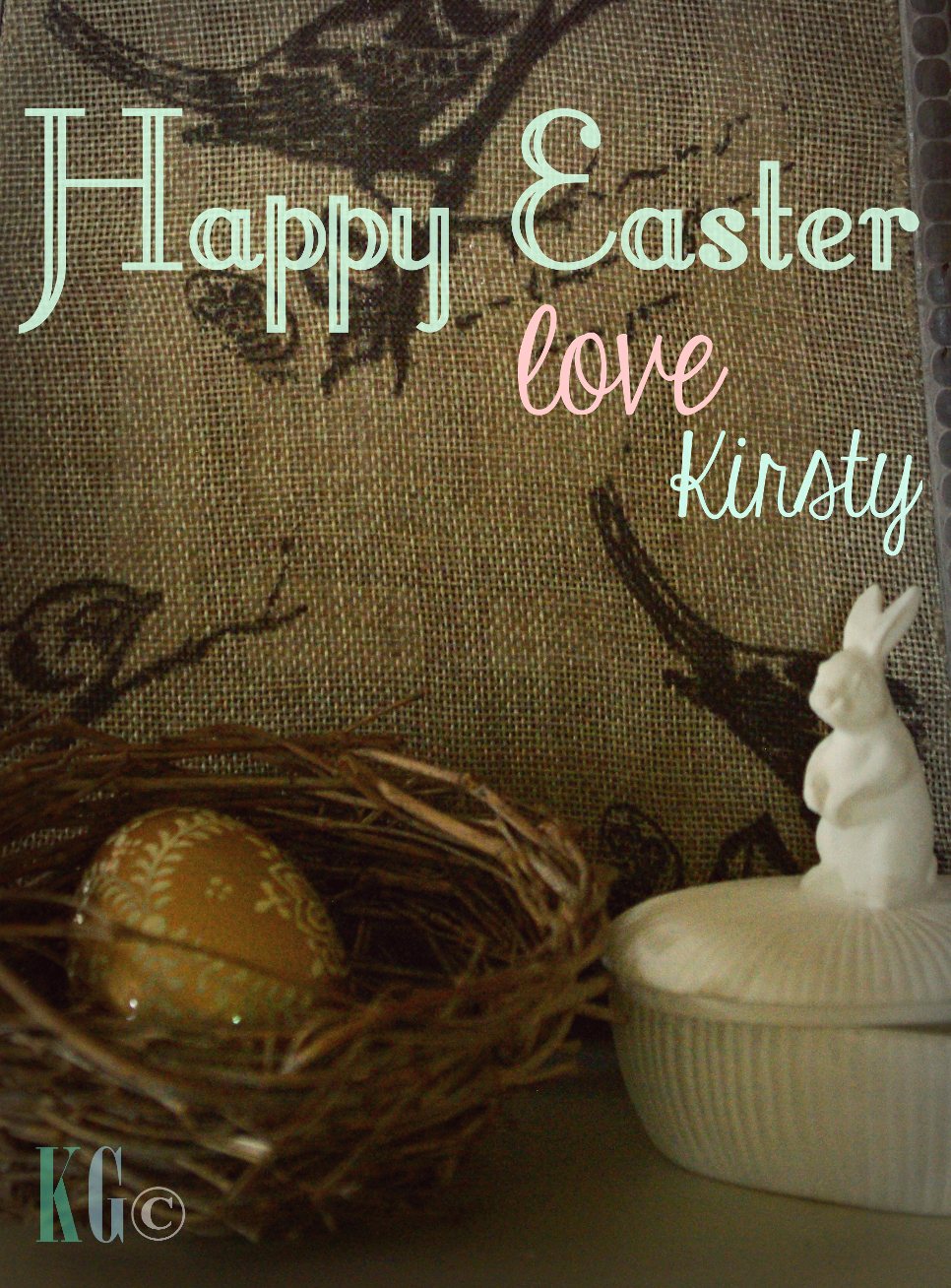 happy easter vignette photo rabbit golden egg nest