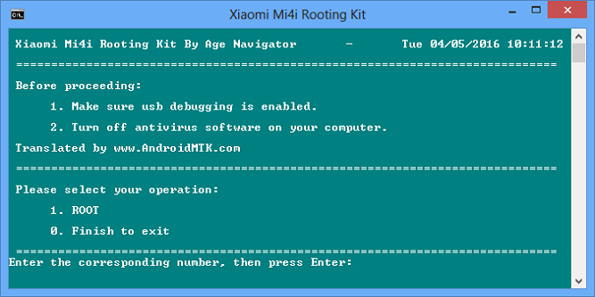 Command Window Xiaomi Mi 4i Rooting Kit