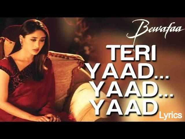 Teri Yaad Yaad Yaad Lyrics in Hindi