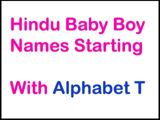 Modern Hindu Baby Boy Names Starting With T