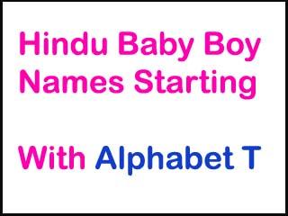 Modern Hindu Baby Boy Names Starting With T