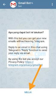 Halaman utama GmaiBot di Telegram lalu klik MULAI