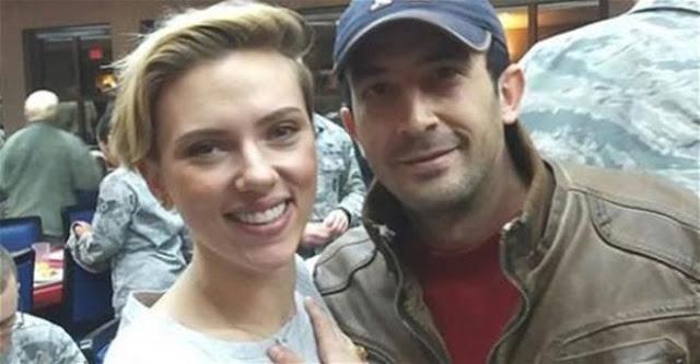 Se coló en una base militar para ver a Scarlett Johansson