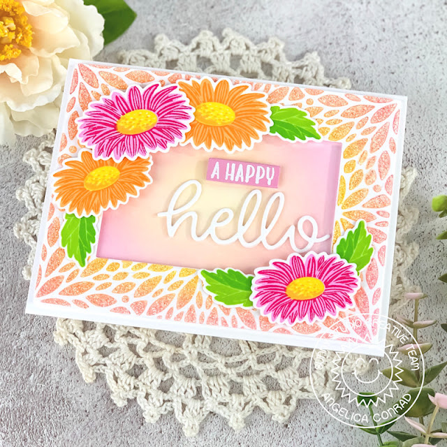Sunny Studio Stamps: Blooming Frame Dies Cheerful Daisies Hello Word Die Hello Card by Angelica Conrad