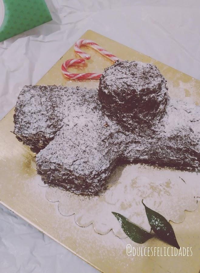 Tronco de Navidad de galletas y crema de Moka con chocolate
