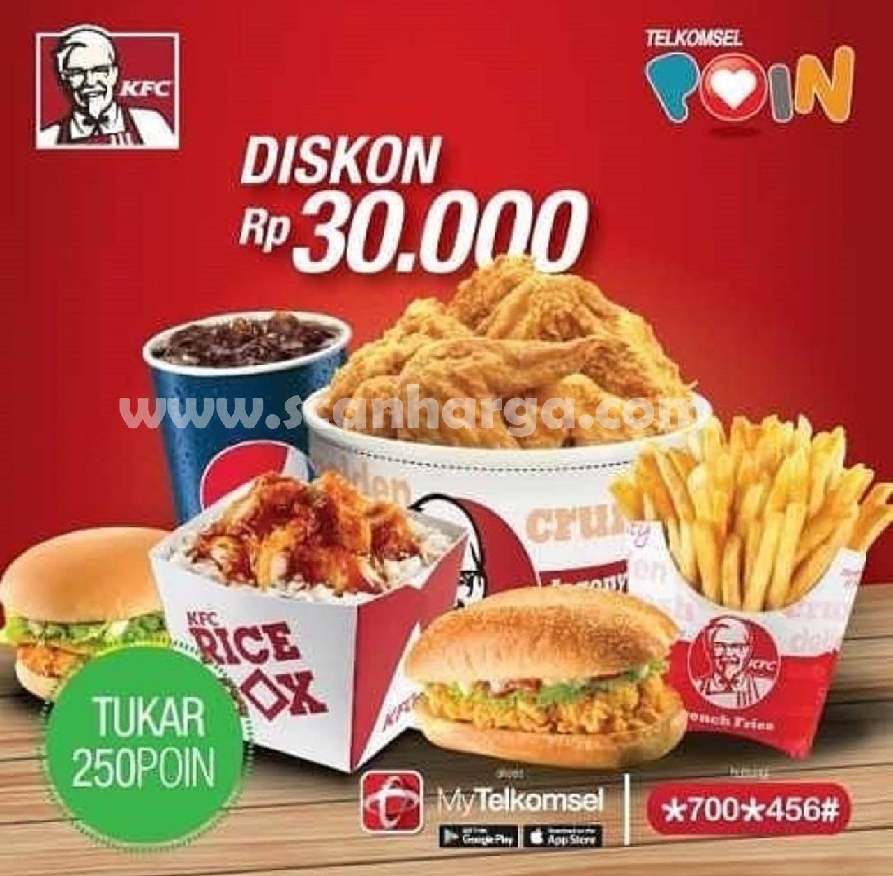KFC Promo Tukar Poin Telkomsel Dengan Voucher Diskon Rp 30.000*