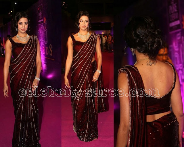 Sanjana in Maroon Velvet Saree