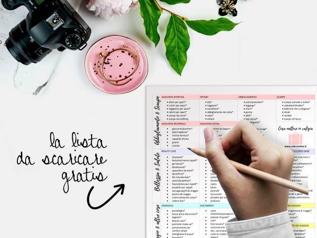 Cosa mettere in valigia - la Lista scaricabile – free printable