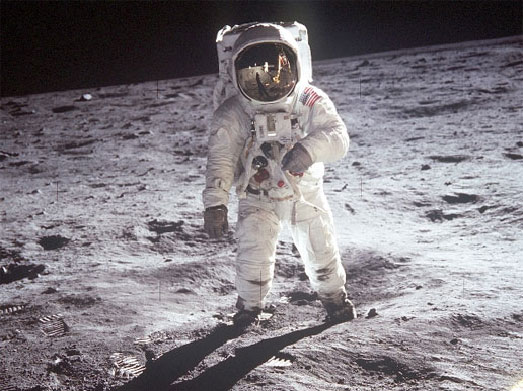 Neil Armstrong's image on moon