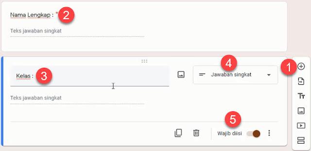 Mengisi Informasi Nama dan Kelas di Google Form