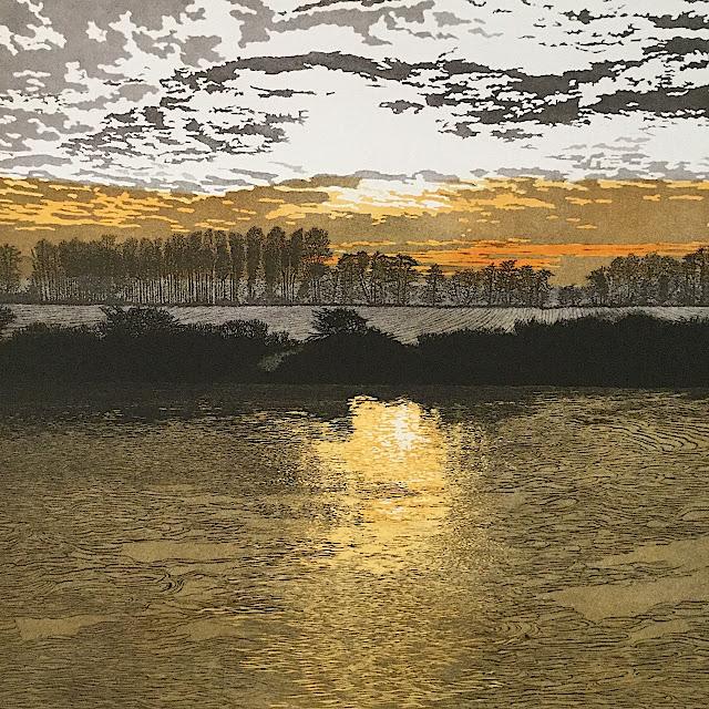 Siemen Dijkstra art, an amber sky over water