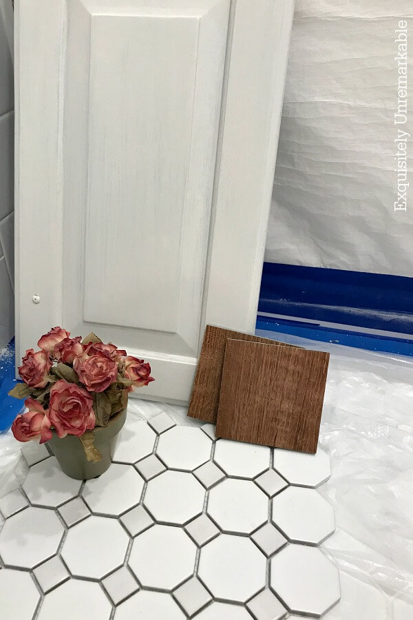 Bathroom Mood Board with tile, cabinet door and flower pot