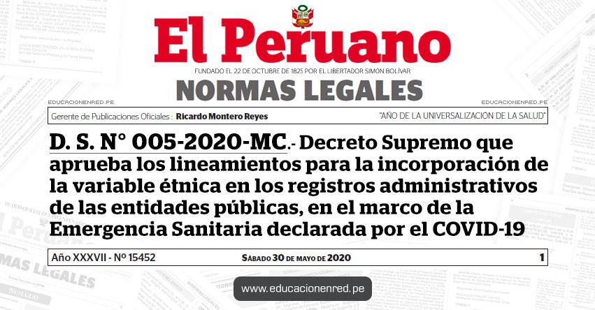 D. S. N° 005-2020-MC.- Decreto Supremo que aprueba los lineamientos para la incorporación de la variable étnica en los registros administrativos de las entidades públicas, en el marco de la Emergencia Sanitaria declarada por el COVID-19