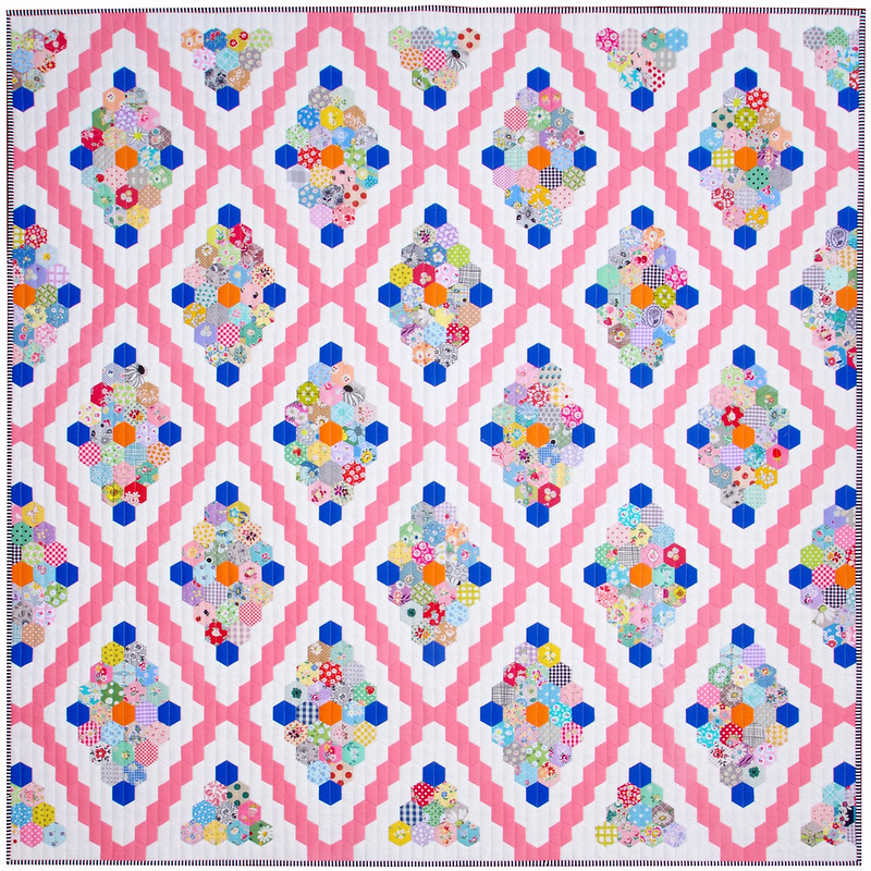 Vintage Inspired Hexagon Quilt - English Paper Pieced  © Red Pepper Quilts 2021