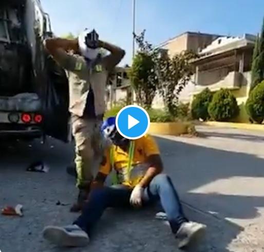 Recolectores de basura en México luchan en plena jornada laboral (video)