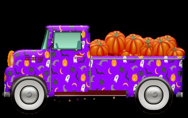 camión colorido lleno de calabazas