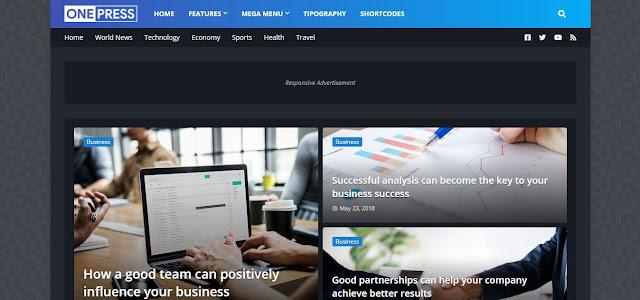 OnePress - Responsive Magazine & News Blogger Template