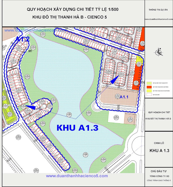 Sơ đồ khu A1.3 dự án Thanh Hà Cienco 5 Hà Đông