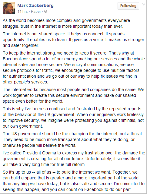 Mark Zuckerberg frustrated; Obama now irritated and Finally NSA Stated