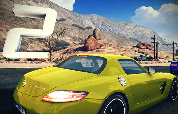 Yellow Mercedes on Asphalt 8 Airborne