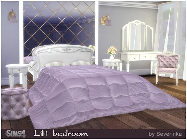 """Lilit bedroom Спальня """"Лилит"""" для The Sims 4 Набор мебели и декора для спальни в классическом стиле. 4 разных цвета дерева, ткани в мягких сиреневых и бежевых тонах. В набор входят 10 предметов: - двуспальная кровать (4 цвета) - круглый столик (4 цвета) - гардероб (4 цвета) - секретер (4 цвета) - стул (10 цветов) - пуф (5 цветов) - настенный светильник (9 цветов) - занавес прозрачный (6 цветов) - постельное одеяло (5 цветов) - большое настенное зеркало (4 цвета) Автор: Severinka_"""