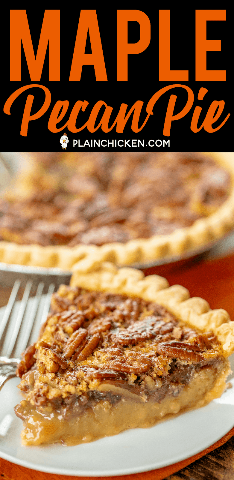 Maple Pecan Pie - seriously delicious!!! SO much amazing flavor from the real maple syrup! Super easy to make! Pie crust, sugar, maple syrup, butter, eggs, pecans, vanilla. Make the day before. Serve with vanilla ice cream and caramel sauce! YUM! #pie #dessert #thanksgiving #christmas #pecanpie #maplesyrup
