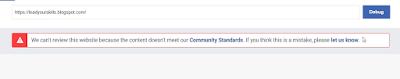 Facebook URL Blocked Community Standards