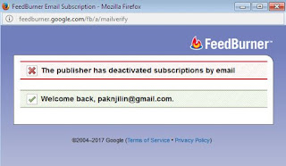 Mengatasi error  The feed does not have subscription by email enabled