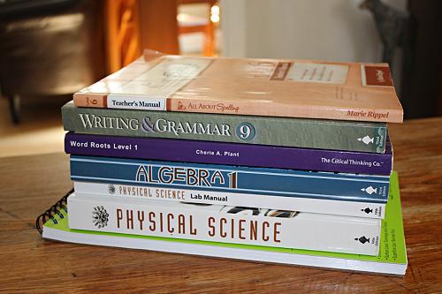 stack of homeschool textbooks