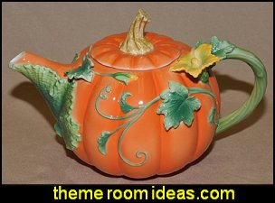 Pumpkin Decorated Teapot  kitchen accessories - fun kitchen decor - decorative themed kitchen  - novelty mugs - kitchen wall decals - kitchen wall quotes - cool stuff to buy - kitchen cupboard contact paper -  kitchen storage ideas - unique kitchen gadgets - food pillows