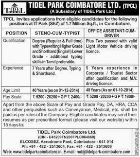 Tidel Park Coimbatore Ltd TPCL Recruitments (www.tngovernmentjobs.in)