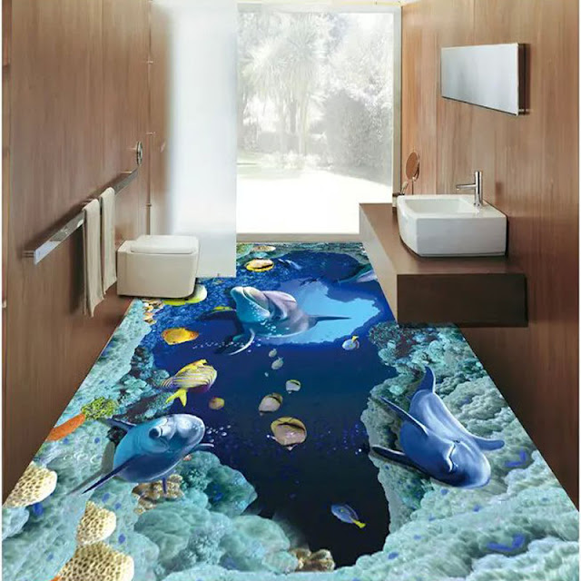 renovate your bathroom with realistic 3D floor tiles with deep sea effect