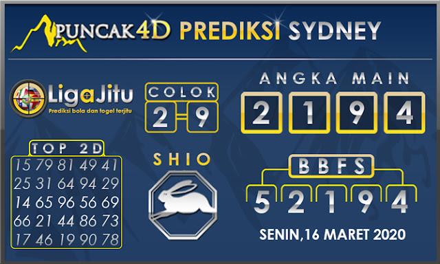 PREDIKSI TOGEL SYDNEY PUNCAK4D 16 MARET 2020