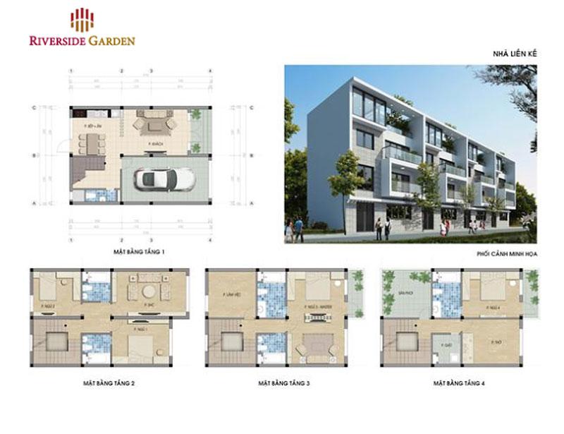 Nhà ở liền kề Riverside Garden 45 Vũ Tông Phan
