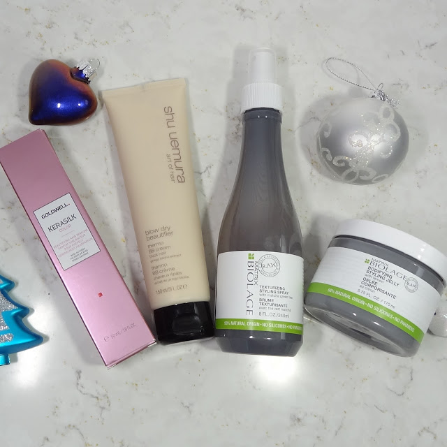 Goldwell Kerasilk Hair Perfume, Shu Uemura Thermo BB Cream, Matrix Biolage Styling Spray & Styling Jelly