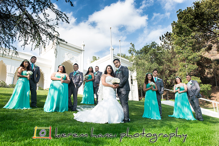 The wedding party on the lawn of the Brand Library in Glendale.