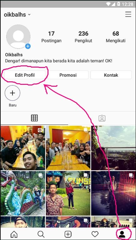 Mengedit Profile Pada Menu Akun Instagram Melalui Smartphone