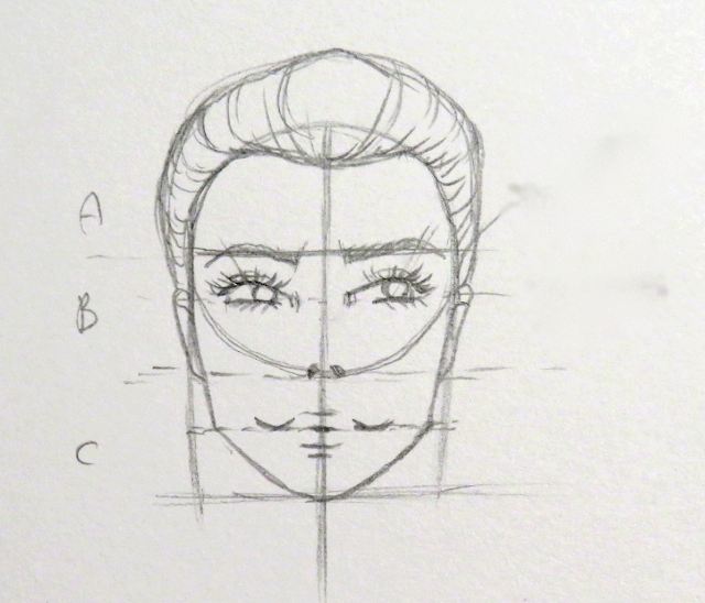 Dibujo del cabello que termina de dar forma a la cabeza