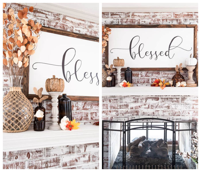 large blessed sign above fall mantel