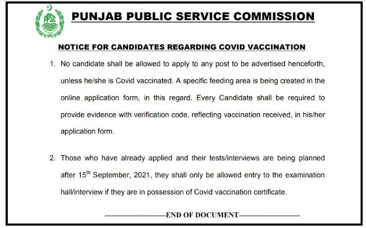 NOTICE FOR CANDIDATES REGARDING COVID VACCINATION PPSC