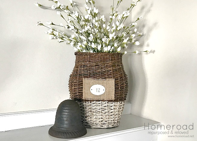 Basket of flowers and a beehive